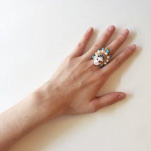 Vintage Oriental Chinese Enamel Glazed Ring.